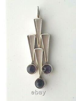 FAB 925 Amethyst MCM MODERNIST Necklace FINLAND Signed Kupittaan Kulta 1960s