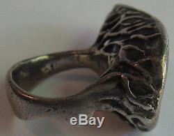 Fabulous Big Modernist Vintage Sterling Silver Sculptural Ring