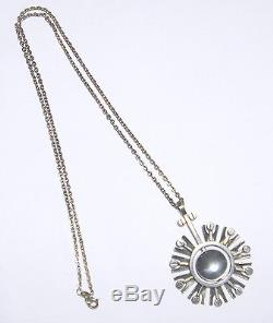 Fabulous RARE 70's TURUN HOPEA 830 Silver SUNBURST PENDANT/Necklace FINLAND