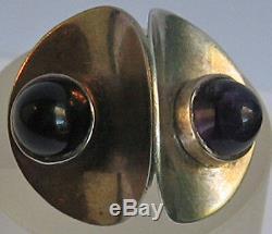 Fabulous Signed Vintage Modernist Sterling Silver Amethyst Sculptural 8-1/2 Ring