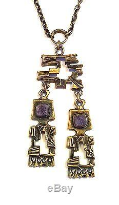 Finland Beautiful Vintage 70s Pentti Sarpaneva Bronze Necklace with Amethysts