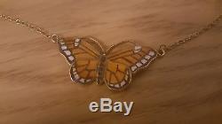 Finn Jensen Butterfly Pendant Vintage Scandinavian Jewelry Enamel RARE