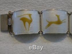 Finn Jensen Norway Sterling Silver Enamel Bracelet White w Gold Stag Design