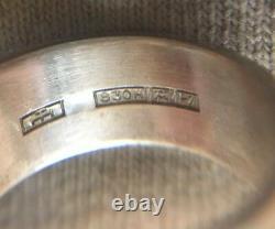 Finnish 1968 Turun Hopea Silver 830 Abstract Cube Ring