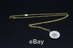 GEORG JENSEN Daisy Gilded & White Enamel Silver Chain w Pendant 18 mm