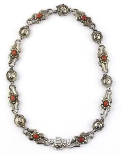 GEORG JENSEN Denmark Sterling Silver Coral Cabochon Floral Necklace #10