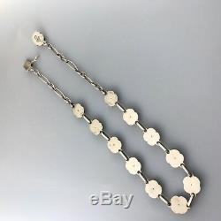 GEORG JENSEN Denmark Sterling Silver Rose Necklace #42A