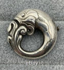 GEORG JENSEN Early Denmark Fish Sterling Silver Brooch Pin #10