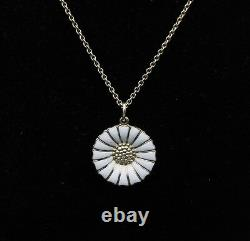 GEORG JENSEN Gilded Daisy Sterling Necklace with White Enamel 18 mm