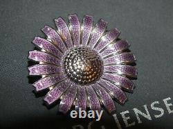 GEORG JENSEN Rhodinated Daisy Sterling Pendant / Brooch 43mm
