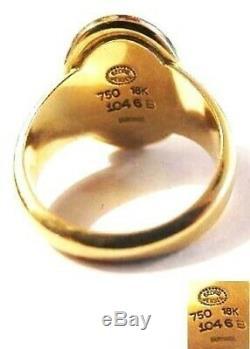 Georg JENSEN 18k Gold RING w Stone Harald NIELSEN Sz 6.5 Vtg Denmark Des # 1046B