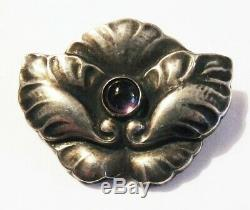Georg JENSEN Pin G I Denmark 830 Silver Amethyst 1915 1930 EARLY Brooch # 107