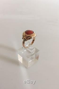 Georg Jensen 14K Gold Ring #111 with Red Stone