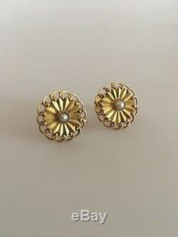 Georg Jensen 18K Gold Earrings (Screws) ornamented with a Pearl