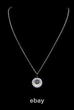 Georg Jensen 925S Gilded Silver Necklace w White Daisy Pendant Denmark 18 mm