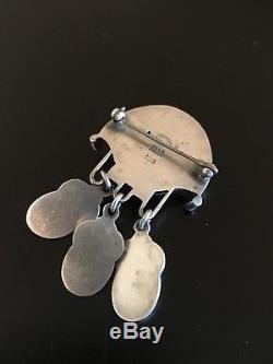 Georg Jensen 925 Silver Chrysoprase Brooch Pin 153