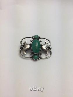 Georg Jensen Art Nouveau Brooch 236B Amazonite