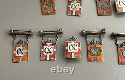 Georg Jensen Christian X Pins Different Designs WWII 925S Silver Lot 12 Pieces