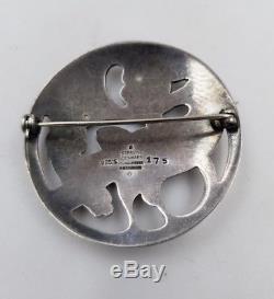 Georg Jensen Denmark #175 Sterling Silver. 925 Raven Bird Eating Pin Brooch