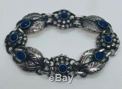 Georg Jensen Denmark Antique Sterling Silver Blue Lapis Lazuli Bracelet No. 3