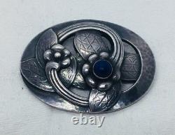 Georg Jensen Denmark Antique Sterling Silver & Blue Lapis Lazuli Floral Pin 13