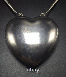 Georg Jensen Denmark Vintage Sterling Silver Extra Large Joy Heart Necklace 126