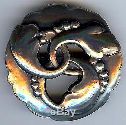 Georg Jensen Denmark Vintage Sterling Silver Interlocking Leaves & Berries Pin