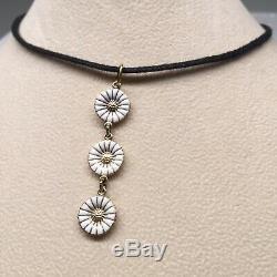 Georg Jensen Gilded Sterling Silver 3 White Daisy Enamel Pendant Classic Danish