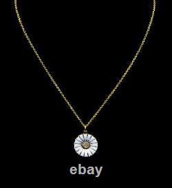 Georg Jensen Gilded Sterling Silver and White Enamel Daisy Pendant 18 mm