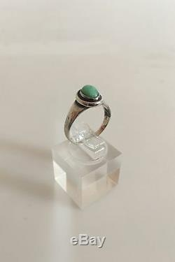 Georg Jensen Silver Ring with Green Stone #46