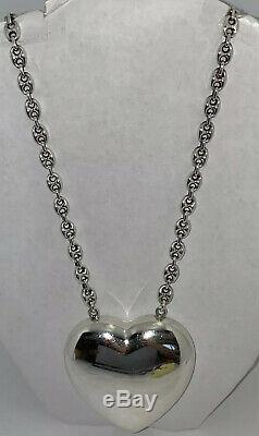 Georg Jensen Sterling Astrid Fog Gucci Link Necklace With Large Heart Pendant #126