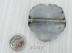 Georg Jensen Sterling Moonstone Pansy Pin Denmark 113