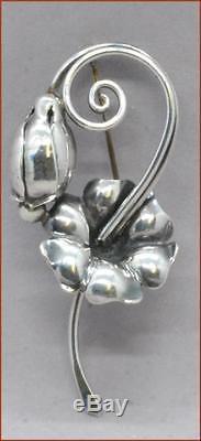 Georg Jensen Sterling Pin Brooch #121 Nice Floral Design Signed