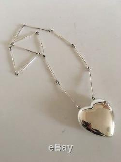 Georg Jensen Sterling Silver Astrid Fog Necklace with Large Heart Pendant No 126