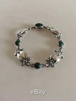 Georg Jensen Sterling Silver Bracelet #11 with Green Stones