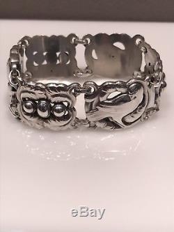 Georg Jensen Sterling Silver Bracelet Dove Design 7 inch Wrist 41.66g