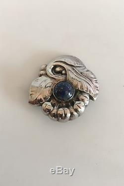 Georg Jensen Sterling Silver Brooch No 71 with Lapis Lazuli