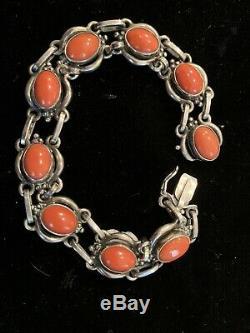 Georg Jensen Sterling Silver & Coral Bracelet #10