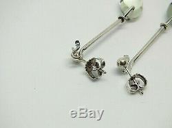 Georg Jensen Sterling Silver Earrings with Rock Crystal # 128 Denmark