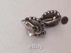 Georg Jensen Sterling Silver Jewelry Set of Ring, brooch and earclips #21, #195