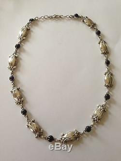 Georg Jensen Sterling Silver Necklace with Blue Stones #15. Measures 50,1cm