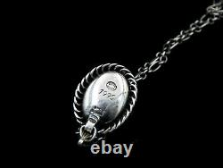 Georg Jensen Sterling Silver Pendant with Amber 1995 Scandinavian Jewelry