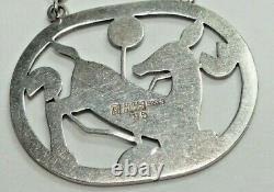 Georg Jensen Sterling Silver Pendant with Kneeling Deer