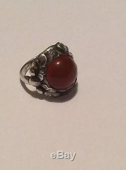 Georg Jensen Sterling Silver Ring with red stone #11A from 1933-1944