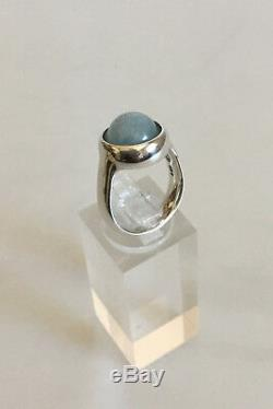 Georg Jensen Sterling Silver Sphere Ring No 473 with Light Stone
