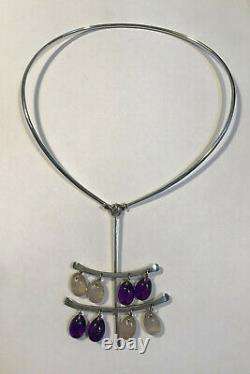 Georg Jensen Sterling Silver Torun Neck Ring No 174 and Pendant No 135