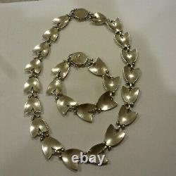 Georg Jensen Sterling Silver Tulip Flower Necklace + Bracelet Set Denmark#66+93