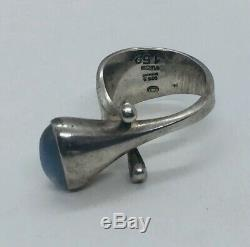 Georg Jensen Torun Denmark Vintage Sterling Silver Moonstone Ring Size 6