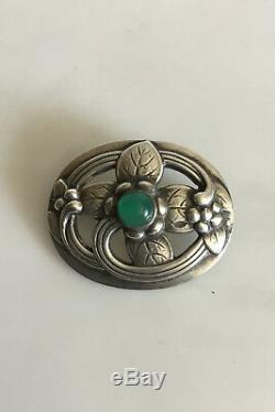 Georg Jensen sterling Silver brooch with green stone No 138