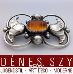 Georg Jensen sterling silver brooch 236 A designed ca. 1920 with amber stone